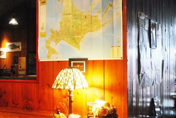 lily's diningさんの店内に貼られている北海道の地図