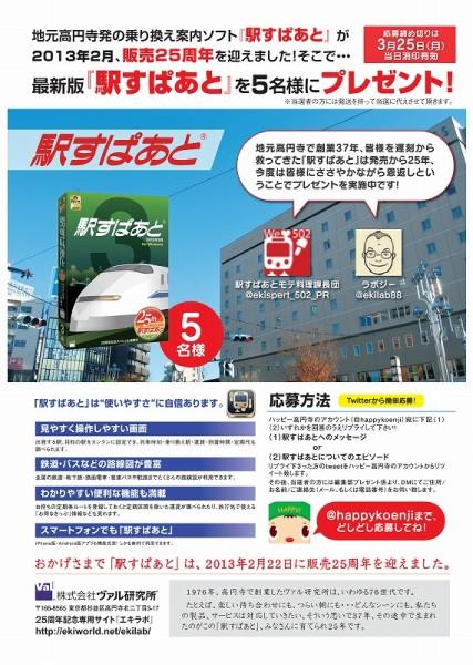 ハッピー高円寺3月号でのプレゼントコーナー