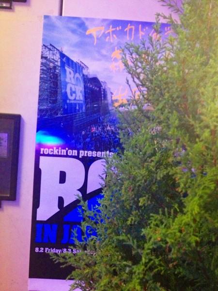 バーボンハウスさんの昇降階段のそばにあるROCK IN JAPAN FESTIVAL 2013のポスター