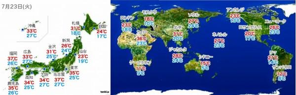 2013年7月23日の日本と世界の気温地図